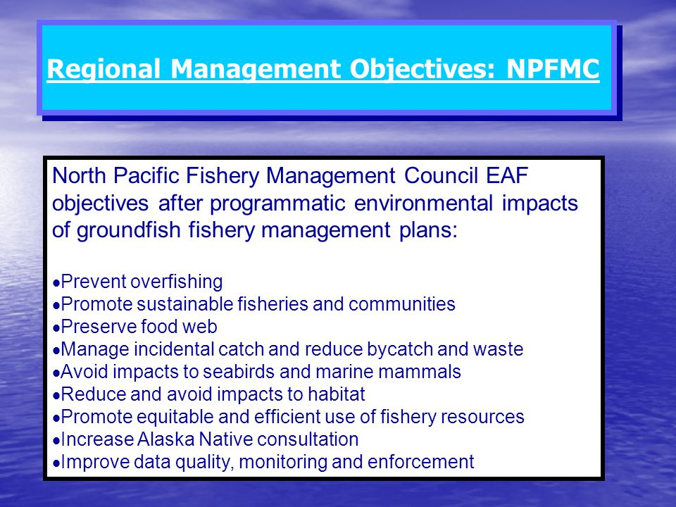 North Pacific Fishery Management Council EAF objectives after programmatic environmental impacts of groundfish fishery management plans: Prevent overf