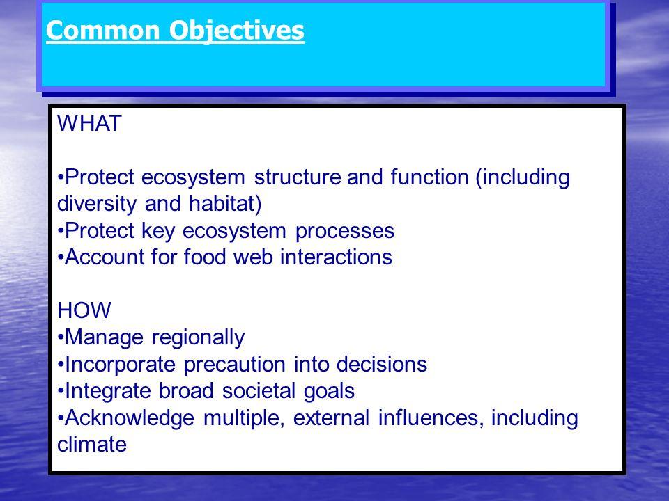 Comparison of Alaska Groundfish FMP Goals to indicators in Alaska Ecosystem Considerations Section.