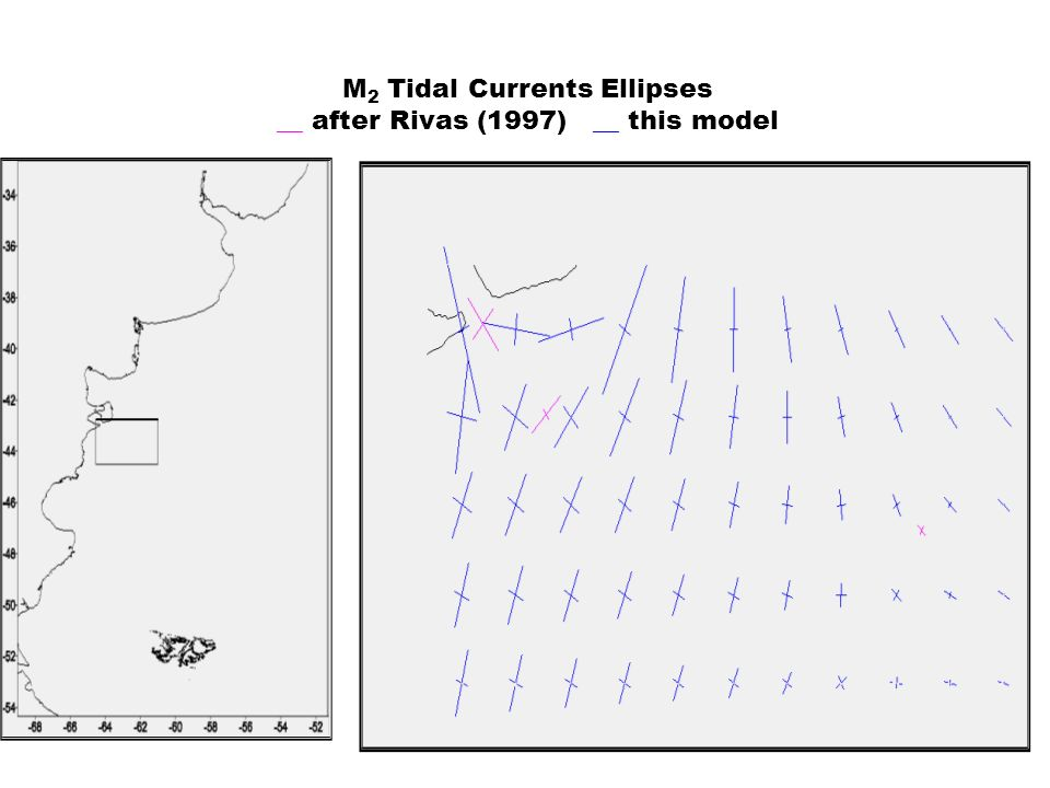 M 2 Tidal Currents Ellipses __ after Rivas (1997) __ this model