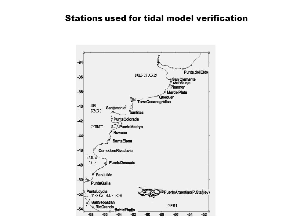 Stations used for tidal model verification