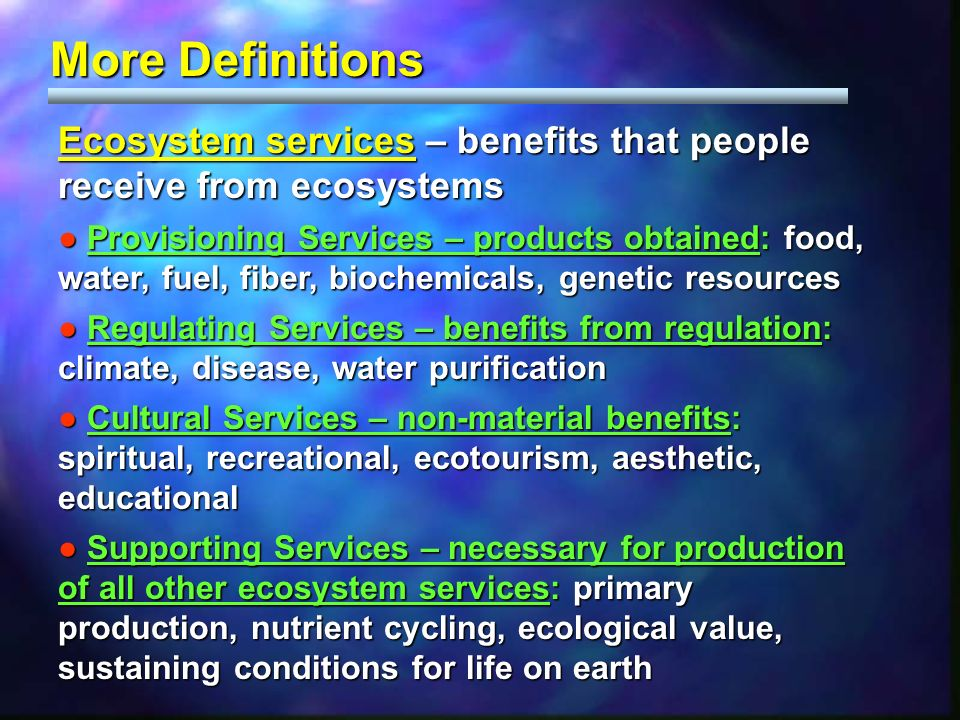 Ecosystem services – benefits that people receive from ecosystems Provisioning Services – products obtained: food, water, fuel, fiber, biochemicals, g