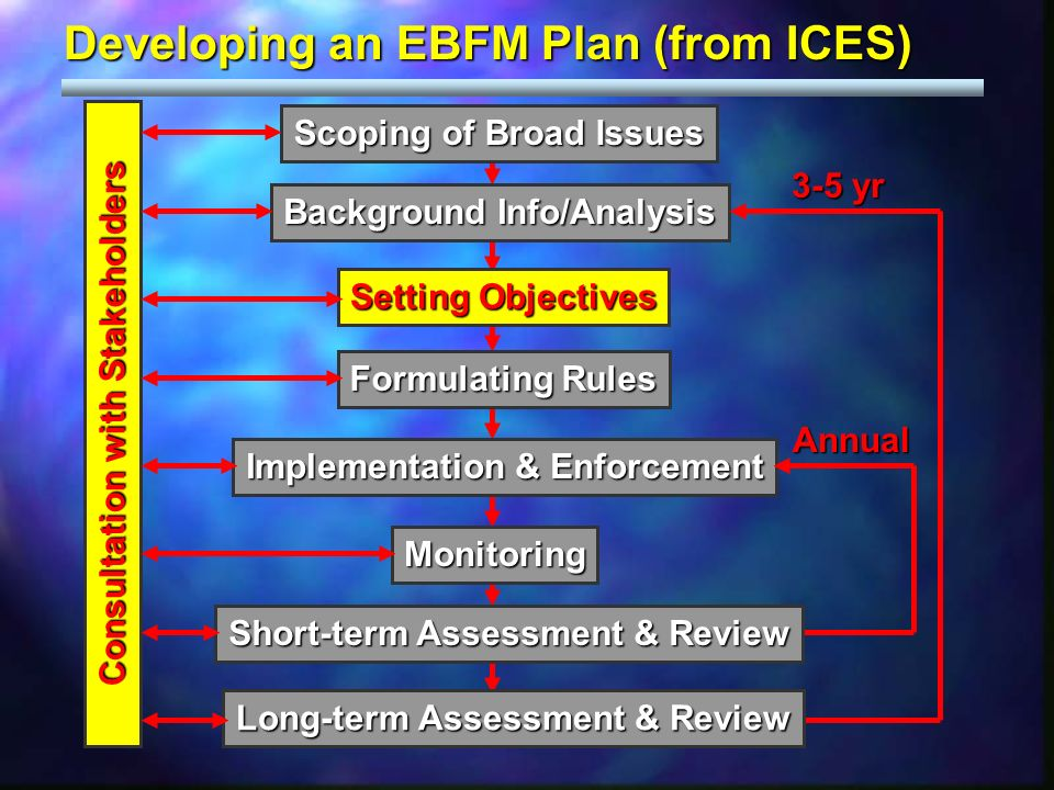 Developing an EBFM Plan (from ICES) Scoping of Broad Issues Background Info/Analysis Setting Objectives Formulating Rules Implementation & Enforcement Monitoring Consultation with Stakeholders Consultation with Stakeholders 3-5 yr Annual Short-term Assessment & Review Long-term Assessment & Review