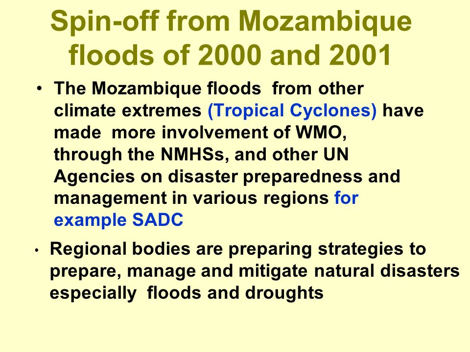 Spin-off from Mozambique floods of 2000 and 2001 The Mozambique floods from other climate extremes (Tropical Cyclones) have made more involvement of WMO, through the NMHSs, and other UN Agencies on disaster preparedness and management in various regions for example SADC Regional bodies are preparing strategies to prepare, manage and mitigate natural disasters especially floods and droughts