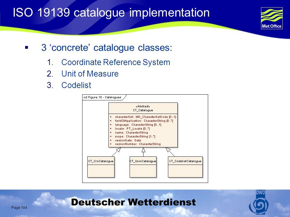 Page 104 ISO 19139 catalogue implementation 3 concrete catalogue classes: 1.Coordinate Reference System 2.Unit of Measure 3.Codelist