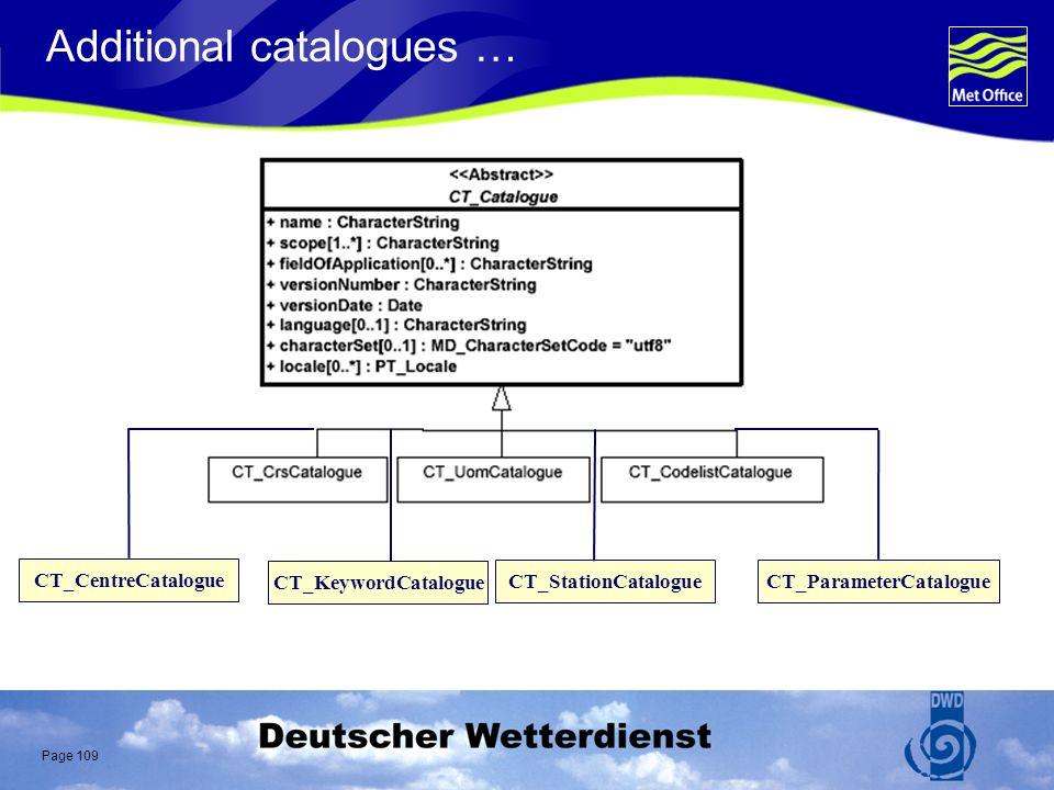 Page 109 Additional catalogues … CT_KeywordCatalogue CT_StationCatalogue CT_CentreCatalogue CT_ParameterCatalogue