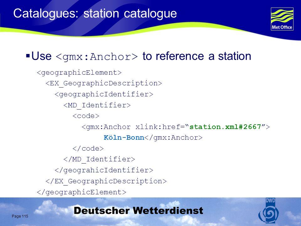 Page 115 Catalogues: station catalogue Use to reference a station Köln-Bonn