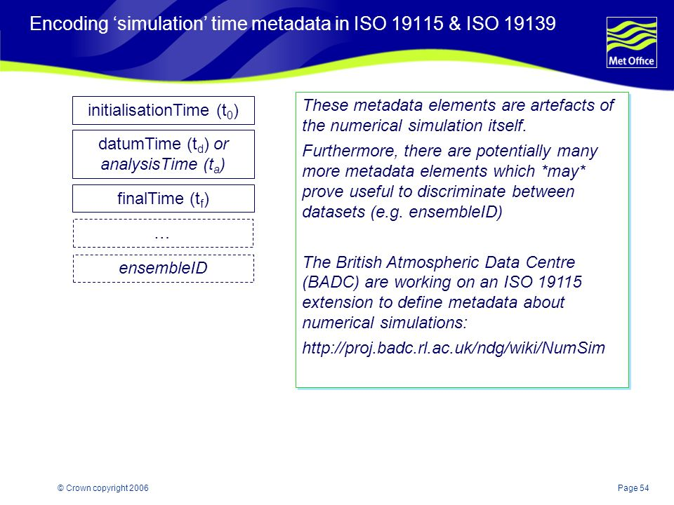 Page 54© Crown copyright 2006 Encoding simulation time metadata in ISO 19115 & ISO 19139 These metadata elements are artefacts of the numerical simulation itself.