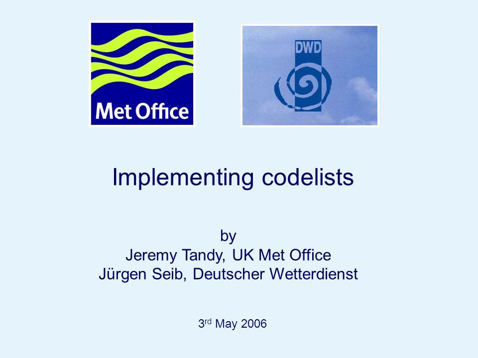 Page 57 Implementing codelists 3 rd May 2006 by Jeremy Tandy, UK Met Office Jürgen Seib, Deutscher Wetterdienst