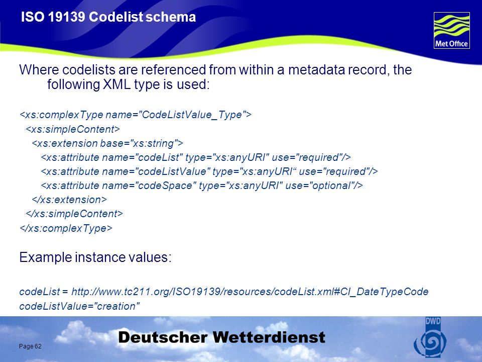 Page 62 ISO 19139 Codelist schema Where codelists are referenced from within a metadata record, the following XML type is used: Example instance values: codeList = http://www.tc211.org/ISO19139/resources/codeList.xml#CI_DateTypeCode codeListValue= creation