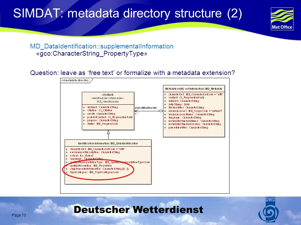 Page 70 SIMDAT: metadata directory structure (2) MD_DataIdentification::supplementalInformation «gco:CharacterString_PropertyType» Question: leave as free text or formalize with a metadata extension