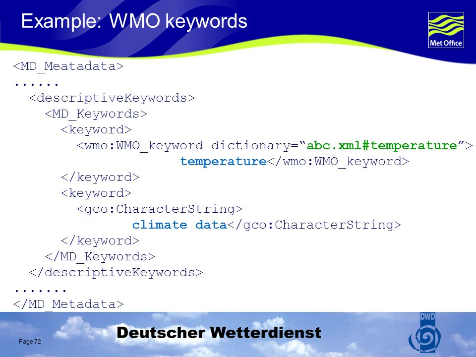 Page 72 Example: WMO keywords...... temperature climate data.......