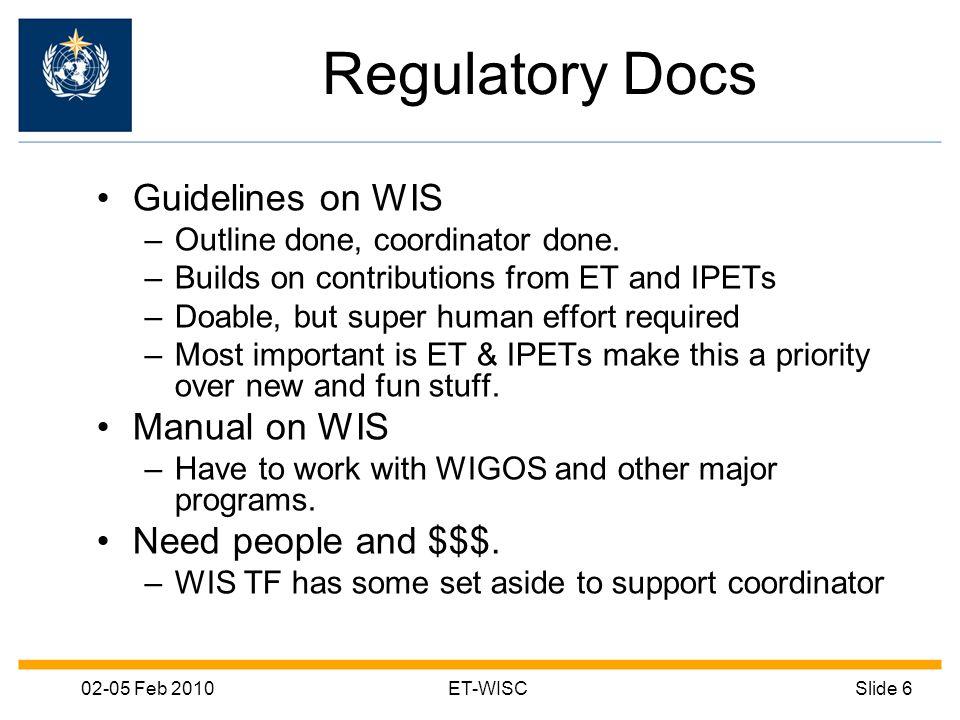 02-05 Feb 2010ET-WISCSlide 6 Regulatory Docs Guidelines on WIS –Outline done, coordinator done.