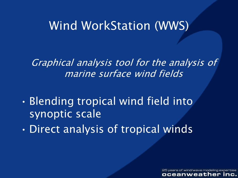 Wind WorkStation (WWS) Graphical analysis tool for the analysis of marine surface wind fields Blending tropical wind field into synoptic scale Direct