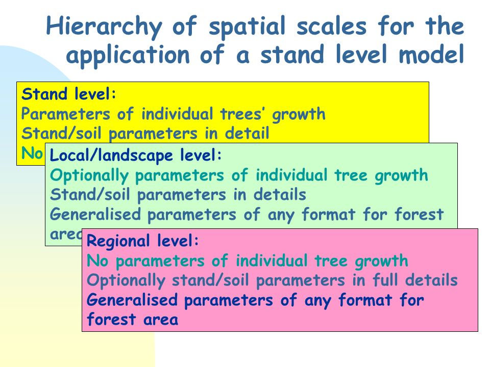 Hierarchy of spatial scales for the application of a stand level model Stand level: Parameters of individual trees growth Stand/soil parameters in detail No generalised parameters for forest area Local/landscape level: Optionally parameters of individual tree growth Stand/soil parameters in details Generalised parameters of any format for forest area Regional level: No parameters of individual tree growth Optionally stand/soil parameters in full details Generalised parameters of any format for forest area
