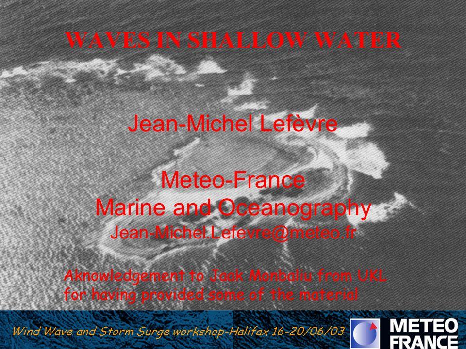 Wind Wave and Storm Surge Workshop Halifax 16-20/06/03 Wind Wave and Storm Surge workshop-Halifax 16-20/06/03 WAVES IN SHALLOW WATER Jean-Michel Lefèv