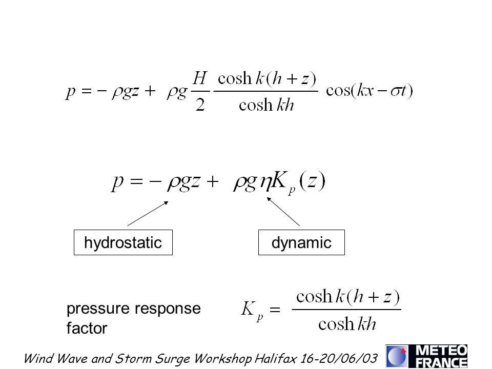 Wind Wave and Storm Surge Workshop Halifax 16-20/06/03 hydrostaticdynamic pressure response factor