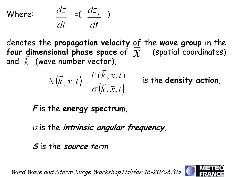 Wind Wave and Storm Surge Workshop Halifax 16-20/06/03 Where: =( ) denotes the propagation velocity of the wave group in the four dimensional phase sp