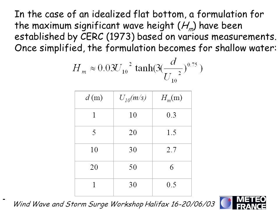 Wind Wave and Storm Surge Workshop Halifax 16-20/06/03 In the case of an idealized flat bottom, a formulation for the maximum significant wave height