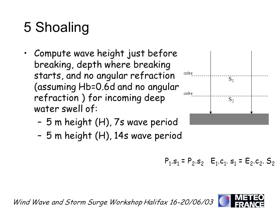 Wind Wave and Storm Surge Workshop Halifax 16-20/06/03 5 Shoaling Compute wave height just before breaking, depth where breaking starts, and no angula