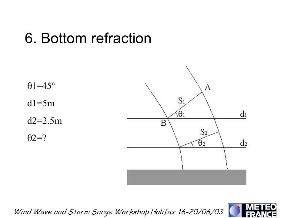 Wind Wave and Storm Surge Workshop Halifax 16-20/06/03 6. Bottom refraction 1=45° d1=5m d2=2.5m 2=?