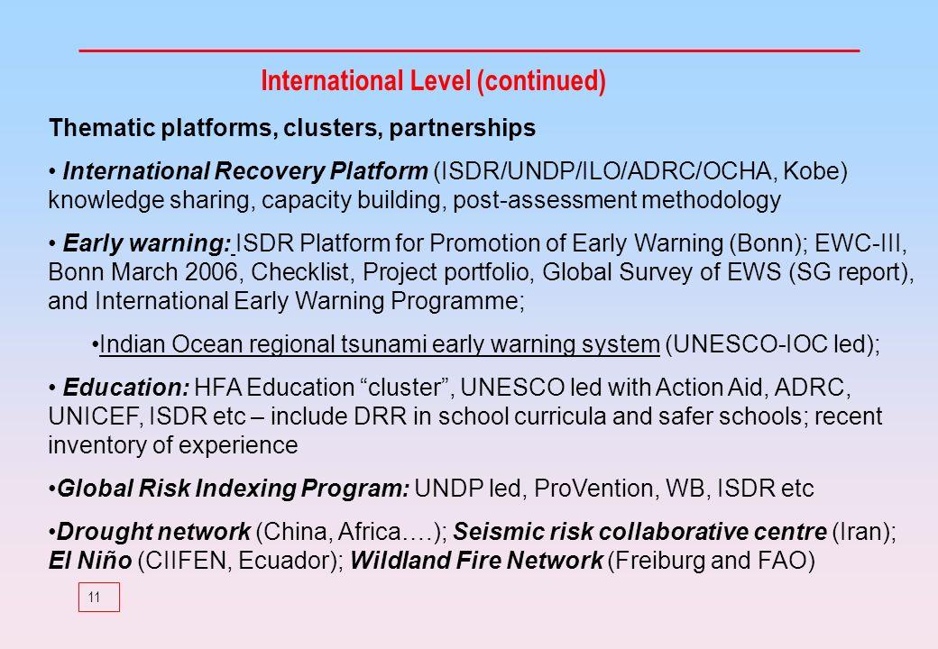 11 International Level (continued) Thematic platforms, clusters, partnerships International Recovery Platform (ISDR/UNDP/ILO/ADRC/OCHA, Kobe) knowledg