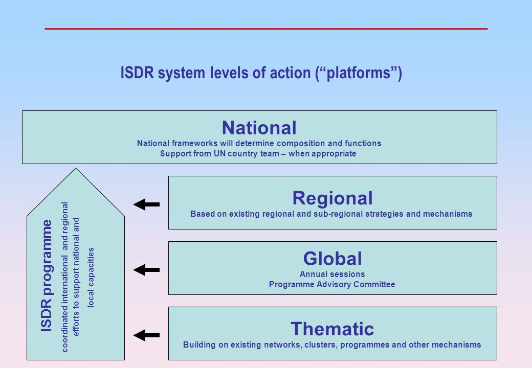 20 ISDR system levels of action (platforms) National National frameworks will determine composition and functions Support from UN country team – when