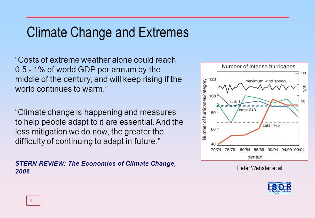 3 Climate Change and Extremes Costs of extreme weather alone could reach 0.5 - 1% of world GDP per annum by the middle of the century, and will keep r
