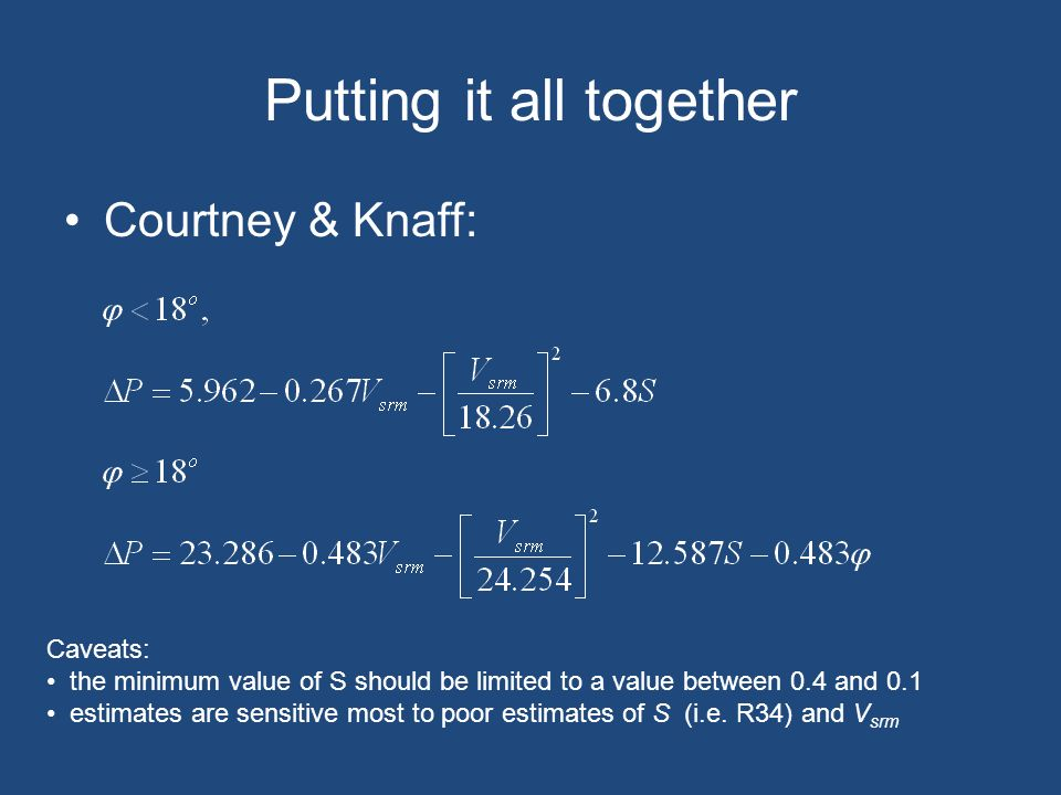 Putting it all together Courtney & Knaff: Caveats: the minimum value of S should be limited to a value between 0.4 and 0.1 estimates are sensitive most to poor estimates of S (i.e.