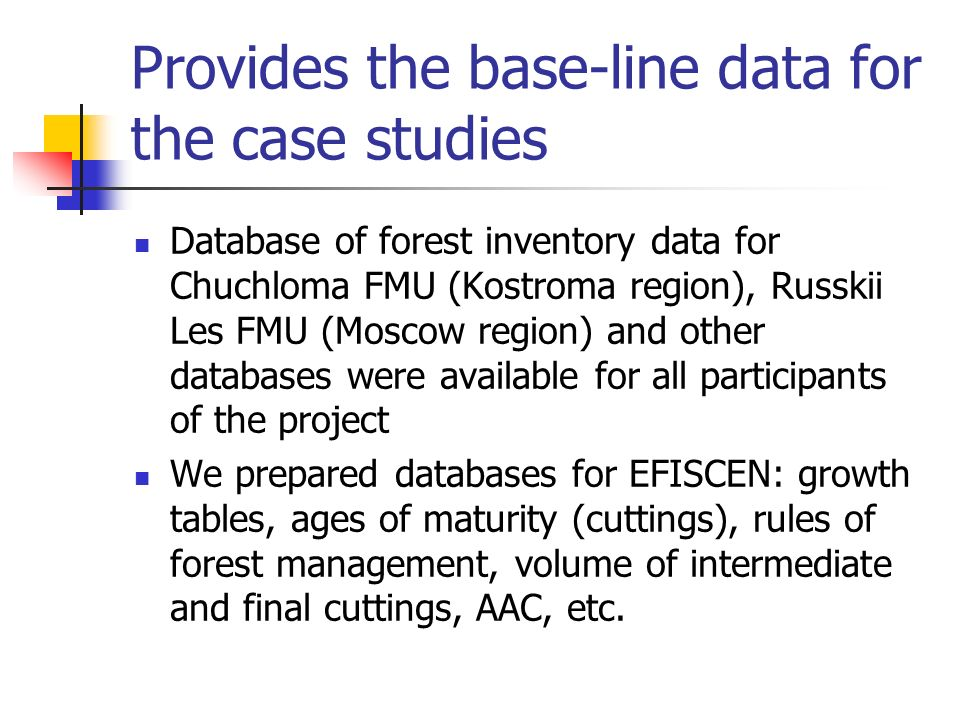 Continuation of analysis of spatially-distributed forest inventory and prognostic databases using ForRus (analytical interface), GIS Topol, Common GIS M.