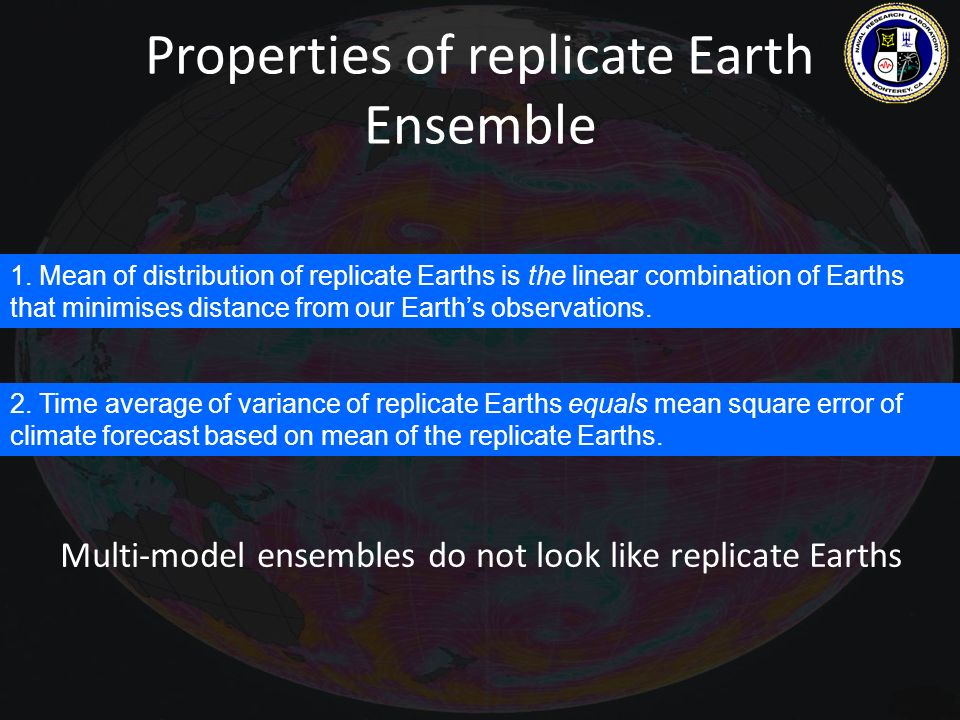 Properties of replicate Earth Ensemble 1. Mean of distribution of replicate Earths is the linear combination of Earths that minimises distance from ou