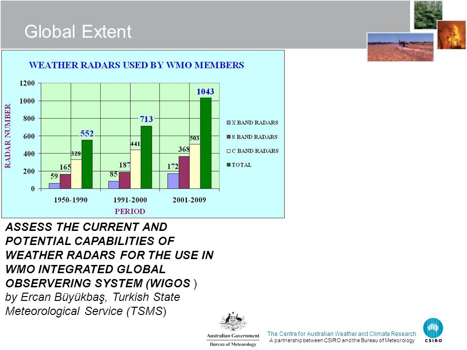 The Centre for Australian Weather and Climate Research A partnership between CSIRO and the Bureau of Meteorology Global Extent ASSESS THE CURRENT AND POTENTIAL CAPABILITIES OF WEATHER RADARS FOR THE USE IN WMO INTEGRATED GLOBAL OBSERVERING SYSTEM (WIGOS ) by Ercan Büyükbaş, Turkish State Meteorological Service (TSMS)