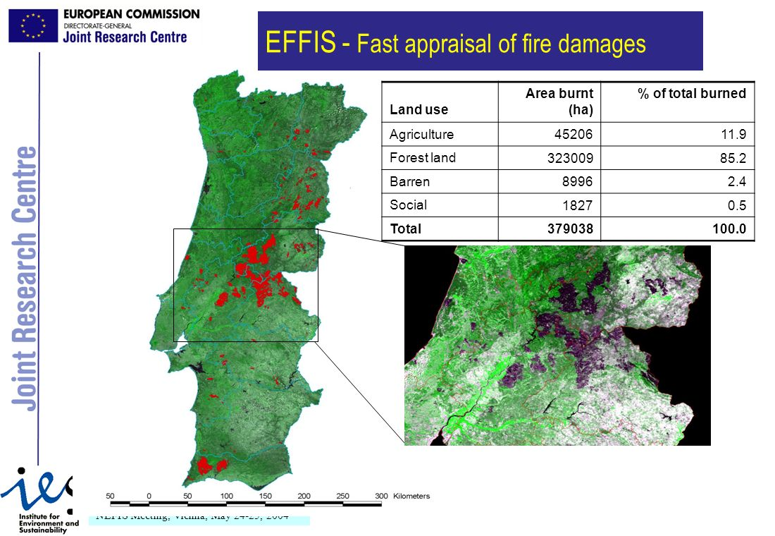 NEFIS Meeting, Vienna, May 24-25, 2004 Land use Area burnt (ha) % of total burned Agriculture Forest land Barren Social Total EFFIS - Fast appraisal of fire damages
