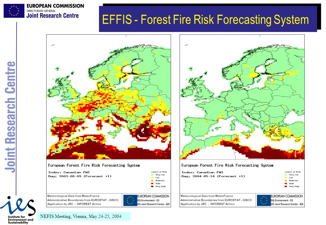 NEFIS Meeting, Vienna, May 24-25, 2004 EFFIS - Forest Fire Risk Forecasting System
