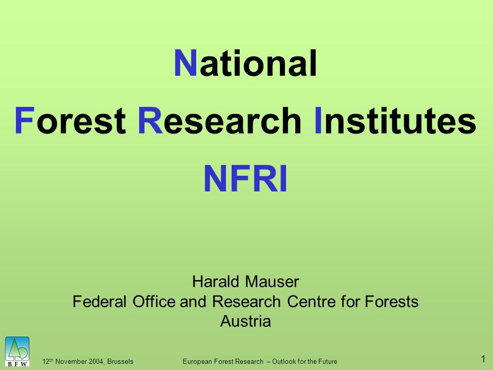 12 th November 2004, BrusselsEuropean Forest Research – Outlook for the Future 1 National Forest Research Institutes NFRI Harald Mauser Federal Office and Research Centre for Forests Austria