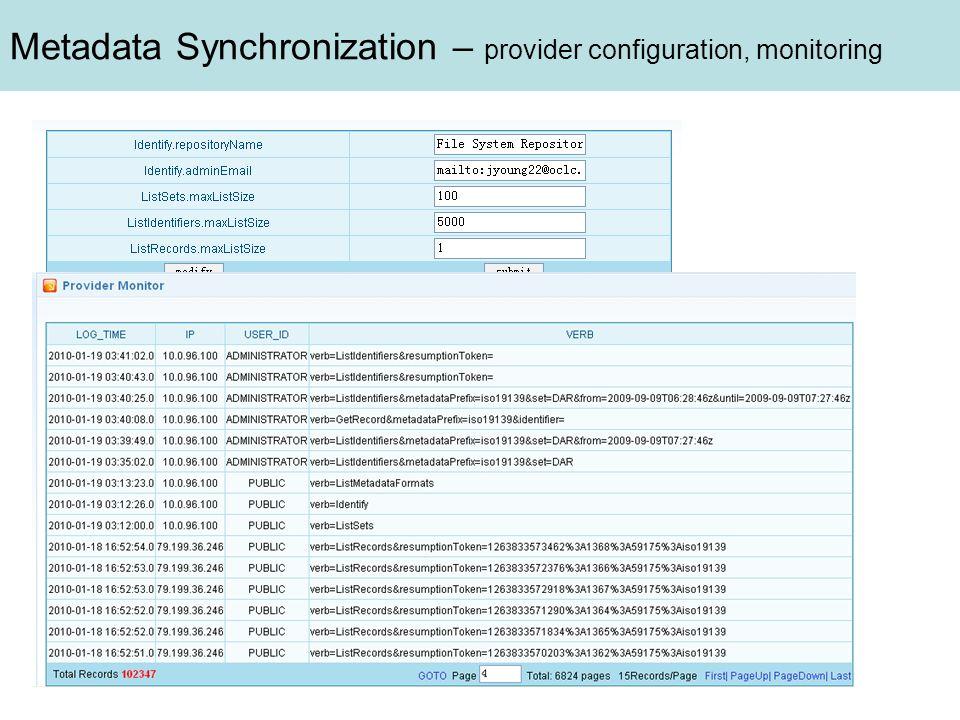 Metadata Synchronization – provider configuration, monitoring