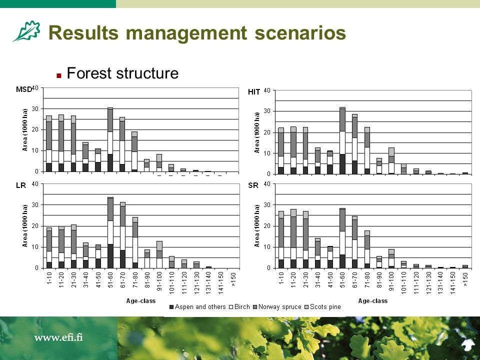 Results management scenarios Forest structure