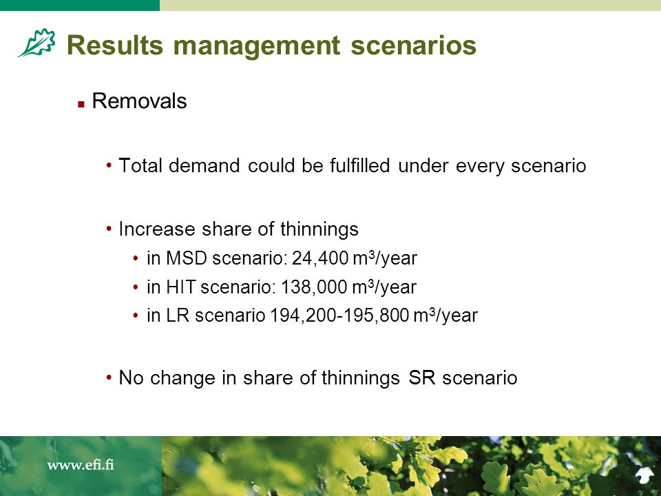 Results management scenarios Removals Total demand could be fulfilled under every scenario Increase share of thinnings in MSD scenario: 24,400 m 3 /year in HIT scenario: 138,000 m 3 /year in LR scenario 194, ,800 m 3 /year No change in share of thinnings SR scenario