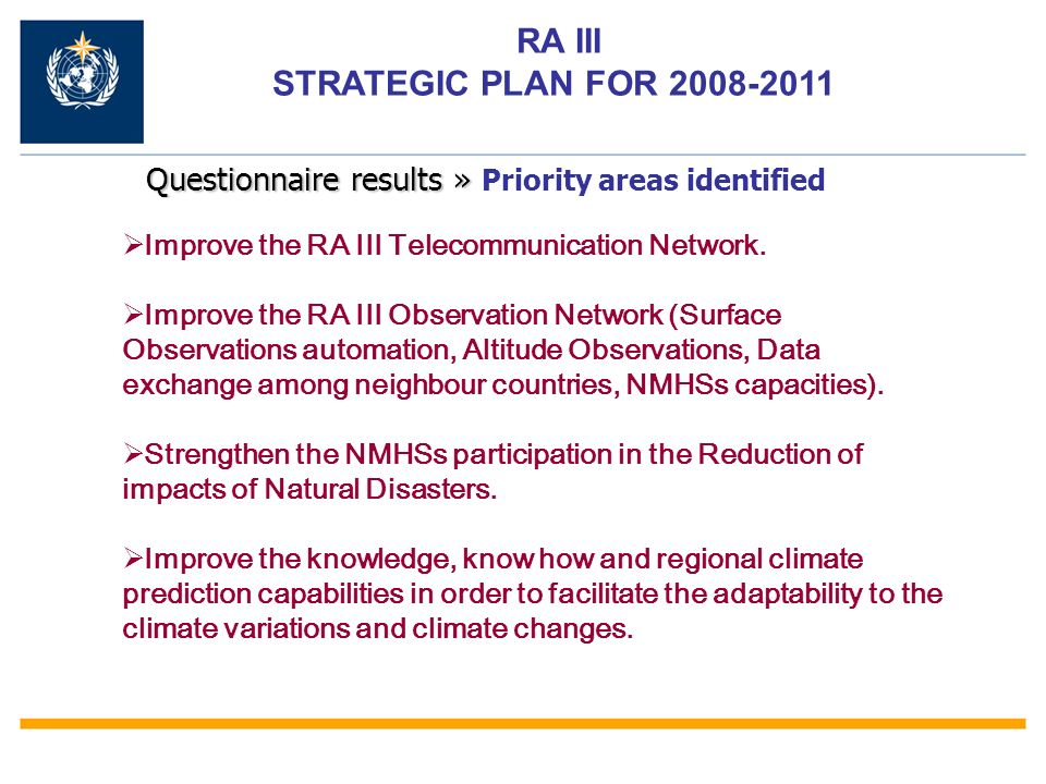 RA III STRATEGIC PLAN FOR 2008-2011 Improve the RA III Telecommunication Network.