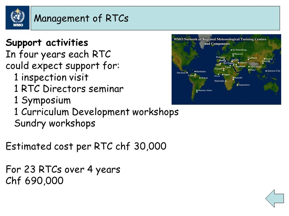 WMO Management of RTCs Support activities In four years each RTC could expect support for: 1 inspection visit 1 RTC Directors seminar 1 Symposium 1 Curriculum Development workshops Sundry workshops Estimated cost per RTC chf 30,000 For 23 RTCs over 4 years Chf 690,000