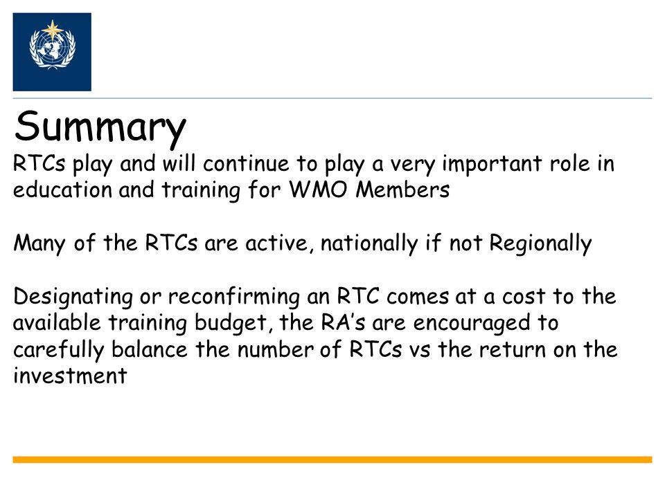 WMO Management of RTCs