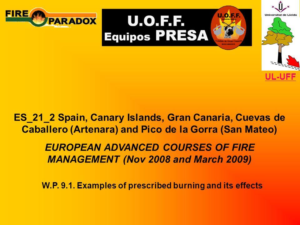 ES_21_2 Spain, Canary Islands, Gran Canaria, Cuevas de Caballero (Artenara) and Pico de la Gorra (San Mateo) EUROPEAN ADVANCED COURSES OF FIRE MANAGEMENT (Nov 2008 and March 2009) W.P.