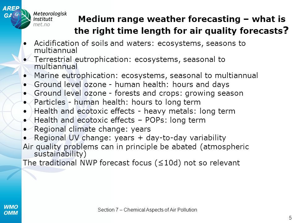 AREP GAW Section 7 – Chemical Aspects of Air Pollution 5 Medium range weather forecasting – what is the right time length for air quality forecasts .