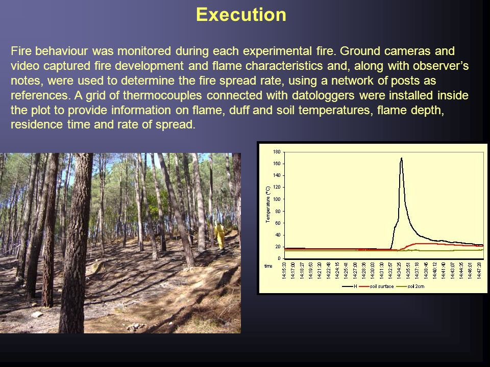 Execution Fire behaviour was monitored during each experimental fire. Ground cameras and video captured fire development and flame characteristics and