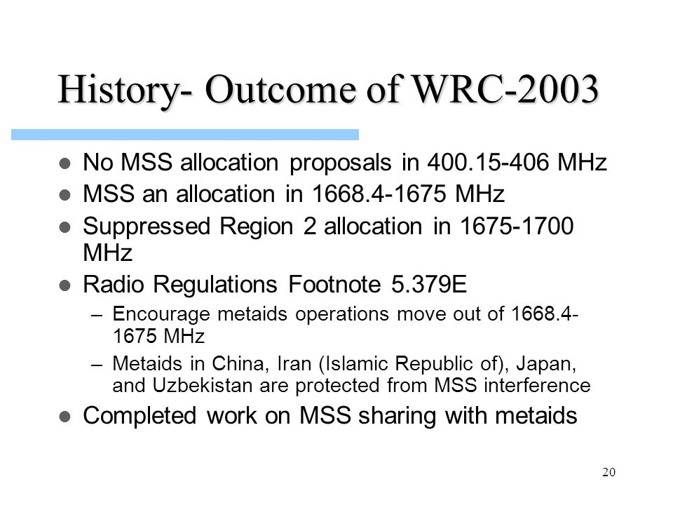 20 History- Outcome of WRC-2003 No MSS allocation proposals in 400.15-406 MHz MSS an allocation in 1668.4-1675 MHz Suppressed Region 2 allocation in 1675-1700 MHz Radio Regulations Footnote 5.379E –Encourage metaids operations move out of 1668.4- 1675 MHz –Metaids in China, Iran (Islamic Republic of), Japan, and Uzbekistan are protected from MSS interference Completed work on MSS sharing with metaids