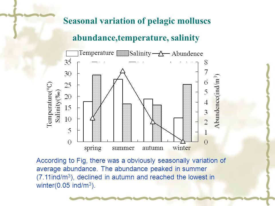 Seasonal variation of pelagic molluscs abundance,temperature, salinity According to Fig, there was a obviously seasonally variation of average abundance.
