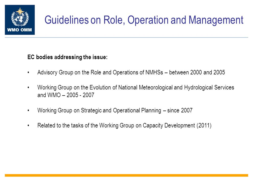 WMO OMM EC bodies addressing the issue: Advisory Group on the Role and Operations of NMHSs – between 2000 and 2005 Working Group on the Evolution of N