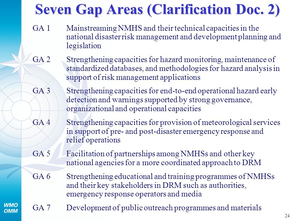 24 Seven Gap Areas (Clarification Doc.