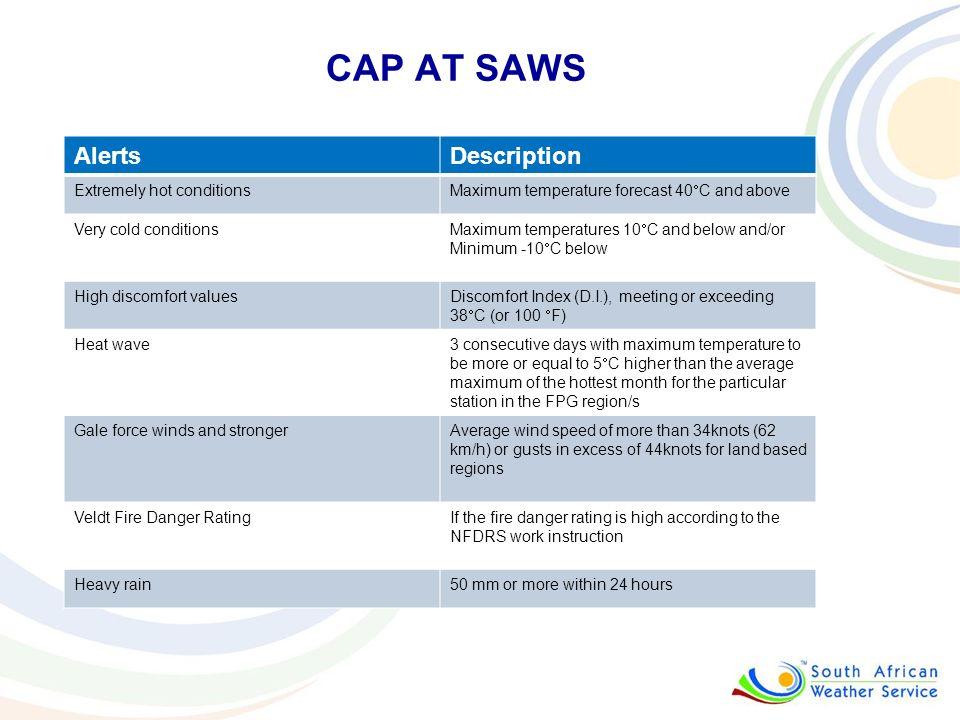 CAP AT SAWS AlertsDescription Extremely hot conditions Maximum temperature forecast 40 C and above Very cold conditions Maximum temperatures 10 C and