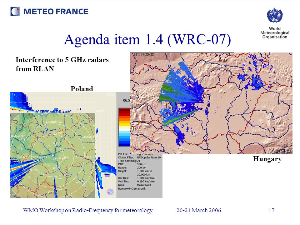 WMO Workshop on Radio-Frequency for meteorology20-21 March 200617 Agenda item 1.4 (WRC-07) Interference to 5 GHz radars from RLAN Poland Hungary