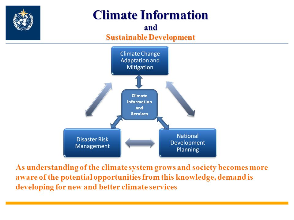 Climate Information and Sustainable Development As understanding of the climate system grows and society becomes more aware of the potential opportunities from this knowledge, demand is developing for new and better climate services